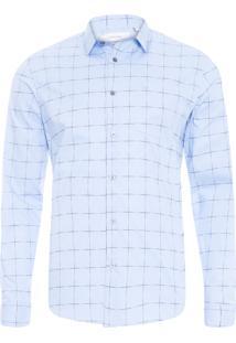 Camisa Masculina Regular Xadrez - Azul