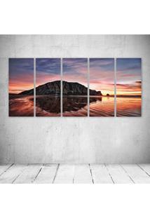Quadro Decorativo - Sunset Behind Morro Rock In Morro Bay Cataken By John Willems. - Composto De 5 Quadros