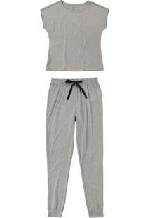 Pijama Mescla Jogging Em Viscose Mescla