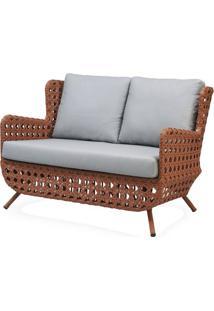 Sofa Clara 2 Lugares Estrutura Aluminio Revestido Em Fibra Cor Terra Cota - 44656 - Sun House