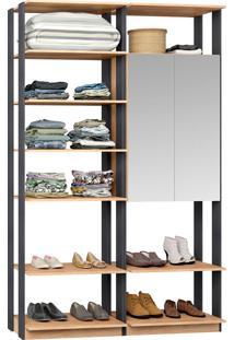 Closet Modulado 1 Armário C/ Espelho Clothes 9012 – Be Mobiliário - Carvalho Mel / Espresso