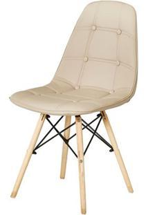 Cadeira Eames Eiffel Assento Cor Nude Com Botone E Base Em Madeira - 44991 - Sun House