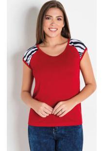 Blusa Detalhe Animal Print Vermelha