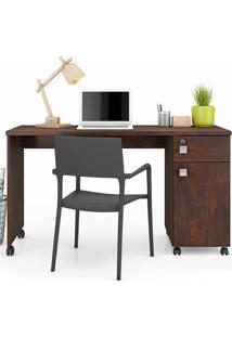 Mesa Computador Office Malta - Noce - Lukaliam Móveis