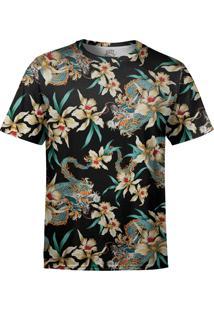 Camiseta Estampada Over Fame Flor E Dragão Chines Preta