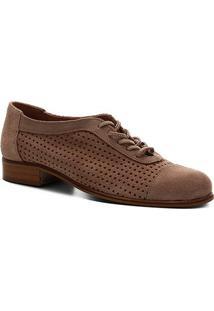 Oxford Couro Shoestock Camurça Cadarço Feminino - Feminino-Nude