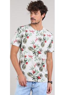 Camiseta Masculina Estampada De Folhagem Manga Curta Gola Careca Cinza Mescla Claro