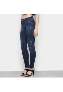 Calça Jeans Skinny Lança Perfume Desfiada Cintura Média Feminina - Feminino-Marinho