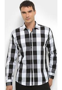 Camisa Xadrez Watkins&Krown Masculina - Masculino-Preto