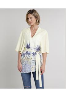 Kimono Feminino Com Estampa Tropical E Faixa Para Amarrar Manga Curta Amarelo