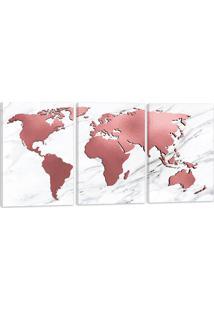 Quadro Mapa Mundi Rose Rosado 60X120Cm Decoração Escritórios Salas Empresas Oppen House