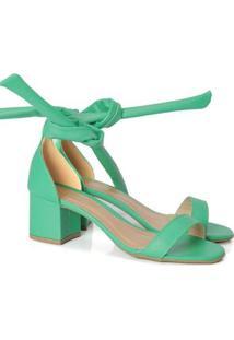 Sandália Gisele Com Amarração Feminino Leve Resistente - Feminino-Verde