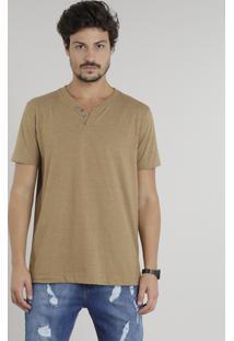 Camiseta Masculina Básica Com Botões Manga Curta Gola Careca Marrom