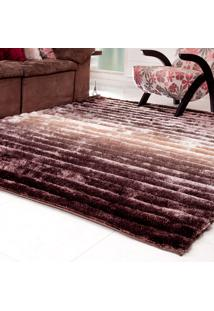 Tapete Silk Shaggy 3D Bege Degradê 50Cm X 1,00M