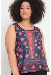 Blusa Com Recortes- Azul Marinho & Vermelha- Malweemalwee