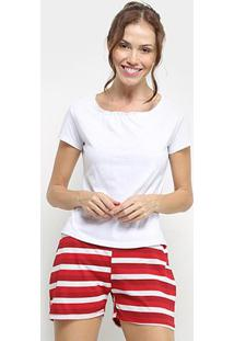 Conjunto Pijama Flora Zuu Listrado Feminino - Feminino-Mescla