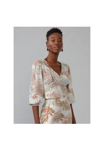 Amaro Feminino Blusa Estampada Cropped Elástico Cintura, Tropical Graphic