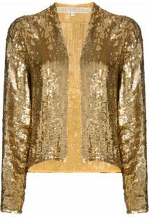 One Vintage Jaqueta Com Bordado De Paetês - Dourado