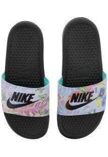 Chinelo Nike Benassi Jdi Print - Slide - Feminino - Preto/Cinza Claro