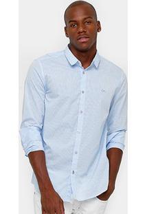 Camisa Calvin Klein Slim Fit Listras Masculina - Masculino-Azul