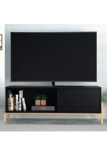 Rack Para Tv Até 50 Polegadas 1 Porta Br 52 Preto/Pinus Claro - Brv Moveis