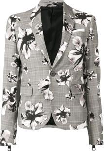 Neil Barrett Blazer Xadrez Com Estampa Floral - Cinza