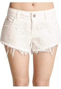 Shorts Sarja Estampado Off White Colcci - Feminino-Branco