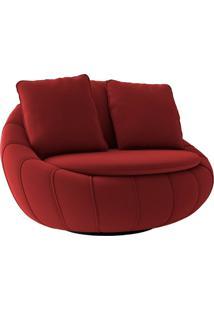Poltrona Decorativa Giratória Sala De Estar Afrodite Veludo Vermelho - Gran Belo
