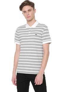 Camisa Polo Lacoste Regular Listrada Off-White/Cinza