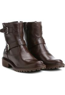 Bota Biker Shoestock Couro Tratorada Feminina