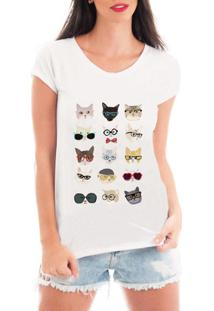 Camiseta Criativa Urbana Cat Love Patches - Feminino-Branco