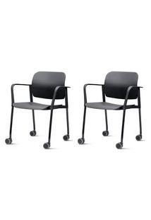 Kit 2 Cadeiras Leaf Com Bracos Base Rodizio Preta - 57388 Preto