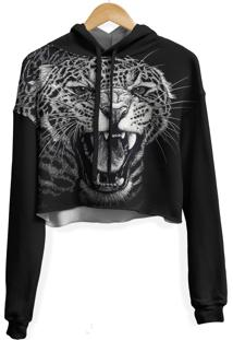 Blusa Cropped Moletom Feminina Over Fame Leopardo Md01