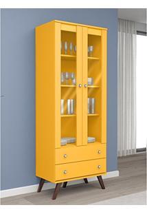 Cristaleira Esm 217 Com 2 Gavetas E 2 Portas De Vidro Amarelo - Movelbento