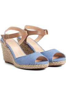 Sandália Anabela Shoestock Lona Feminina - Feminino-Azul