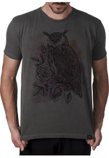 Camiseta Artseries Coruja Com Flores Owl Flowers Cinza
