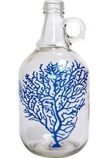 """Garrafa Decorativa """"Coral""""- Incolor & Azul- 26,5Xø13Decor Glass"""