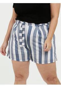 Short Feminino Listrado Clochard Plus Size
