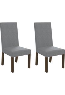 Cadeiras Kit 2 Cadeiras Cad127 Walnut/Cinza - Kappesberg