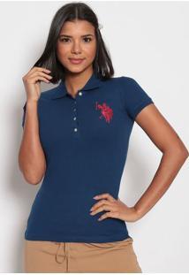 Polo Bordada Em Piquãª- Azul Marinhous Polo