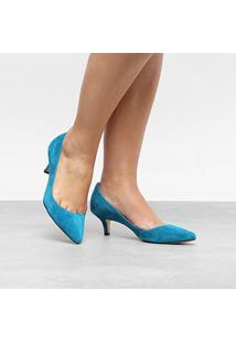 Scarpin Couro Luiza Barcelos Salto Médio Salermo - Feminino-Azul Turquesa