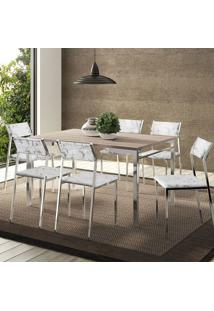 Conjunto Mesa 1526 Nogueira Cromada Com 6 Cadeiras 1709 Fantasia Branco Carraro