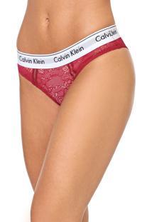 Calcinha Calvin Klein Underwear Renda Tule Tanga Rosa/Branca