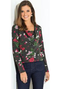 Blusa Com Brilho No Decote Floral Preto
