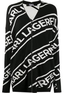 Karl Lagerfeld Cardigan Com Logo E Zíper - Preto