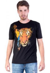 Camiseta Tigre Com Cachimbo Preta