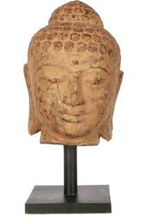 Escultura Cabeça De Buda Em Pedra 37Cm