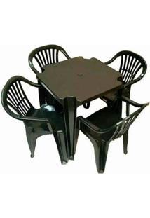 Conjunto Mesa Com 4 Cadeiras Poltrona Plastico Preto 6 Jogos