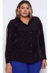 Camisa Almaria Plus Size Pianeta Chiffon Maquineta