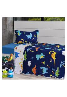 Kit Cobre Leito Solteiro + Porta Travesseiro Infantil Dinossauros - Bene Casa